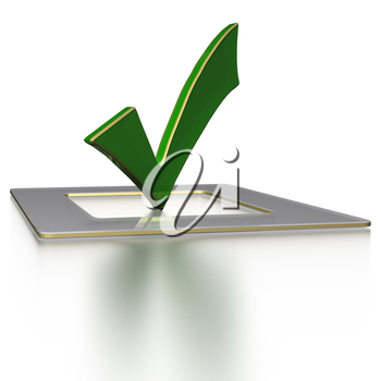Glossy green Check mark on white background