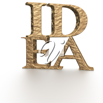 The three-dimensional word IDEA isolated on a white background.