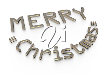 3d text Merry Cristmas and happy new year design.