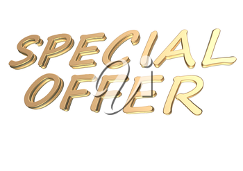 Glossy gold three-dimensional inscription Special offer as a sign.