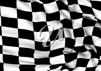 Glossy three-dimensional checkered flag of end race.