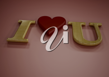 Dimensional inscription of I LOVE You and heart near it.