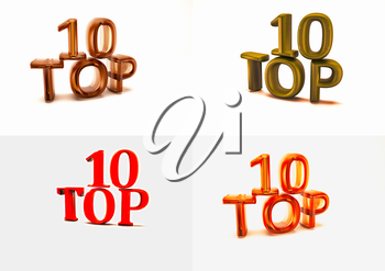 Set of pictures dimensional inscription of Top 10 on background. 3D illustration.