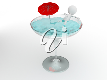 Royalty Free Clipart Image of a Figure Bathing in a Martini Glass