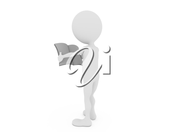 Royalty Free Clipart Image of a Figure Reading a Book