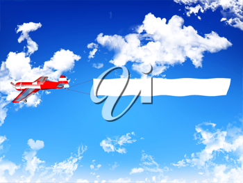 Royalty Free Clipart Image of an Airplane Pulling a Banner