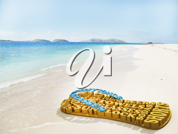 Royalty Free Clipart Image of Flip Flops Made of Words