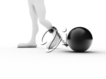 Royalty Free Clipart Image of a Foot in a Ball and Chain
