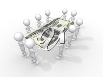 Royalty Free Clipart Image of Figures Holding a Hundred Dollar Bill