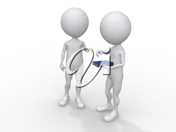 Royalty Free Clipart Image of Two Figures Talking
