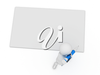 Royalty Free Clipart Image of a Figure With a Large Pen and Paper