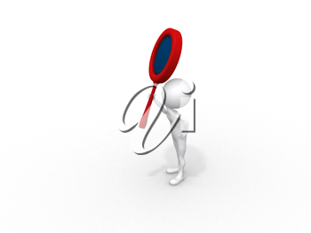 Royalty Free Clipart Image of a Person With a Loupe