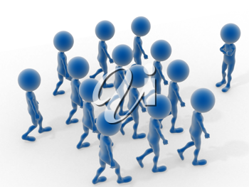 Royalty Free Clipart Image of a Group of Blue People Moving Towards One