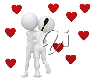 Royalty Free Clipart Image of a Couple Embracing Under Hearts