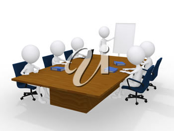 Royalty Free Clipart Image of People in a Boardroom