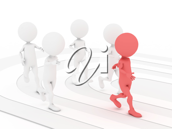 Royalty Free Clipart Image of People in a Race