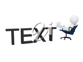 Royalty Free Clipart Image of a Figure Lounging on the Word Text