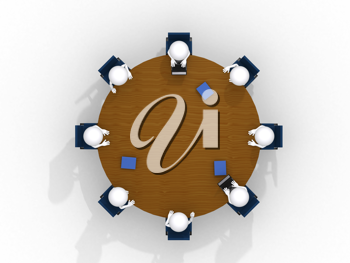 Royalty Free Clipart Image of Figures Attending a Meeting