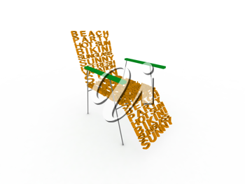 Royalty Free Clipart Image of a Chair Comprised of Summer Words