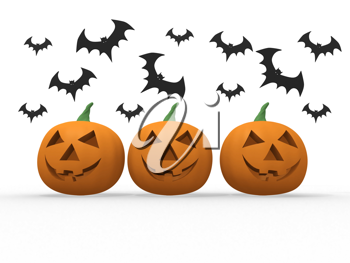Royalty Free Clipart Image of a Group of Pumpkins with Bats