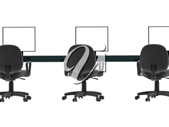 Royalty Free Clipart Image of a Few Computer Stations