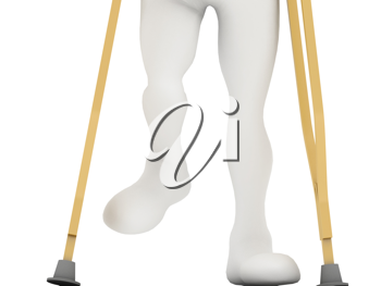 An injured man on crutches isolated against white background