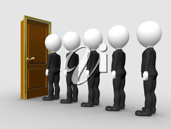 3d people in line waiting for job interview