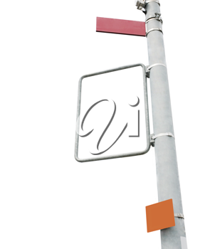 Blank signs in the main center of the town isolated over a white background.