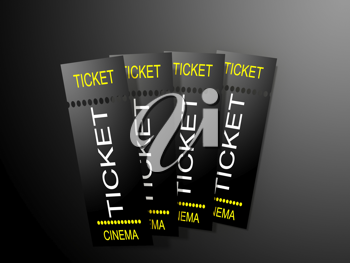 Cinema ticket on dark background
