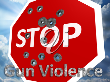 Royalty Free Clipart Image of a Stop Gun Violence Sign