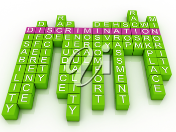 Royalty Free Clipart Image of a Word Cloud On Discrimination