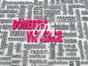 Royalty Free Clipart Image of a Word Cloud on Domestic Violence