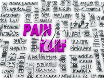 Royalty Free Clipart Image of a Pain Relief Word Collage