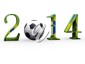 3d Soccer world cup in 2014 with football
