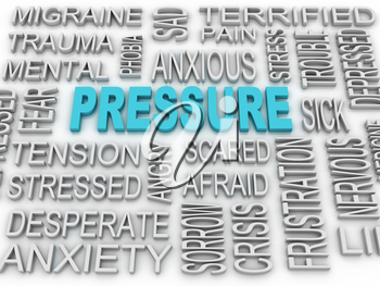 3d image Pressure concept word cloud background. Business concept