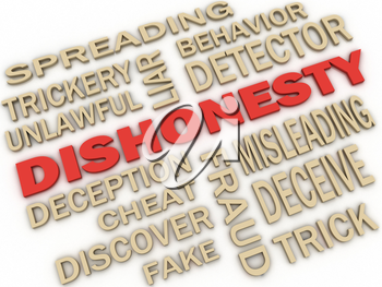 3d imagen Dishonesty concept word cloud background