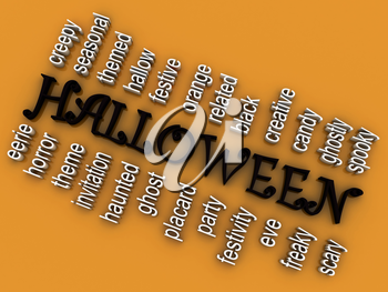 3d imagen Halloween concept word cloud background