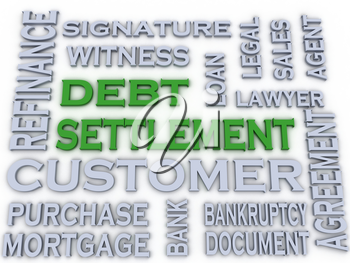 3d image Debt settlement  issues concept word cloud background