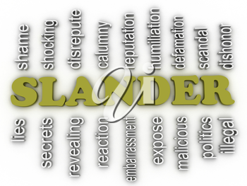 3d image Slander issues concept word cloud background