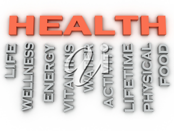 3d image HEALTH  issues concept word cloud background