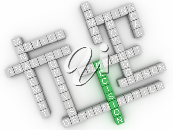 3d image Decision  issues concept word cloud background