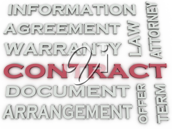 3d image Contract  issues concept word cloud background