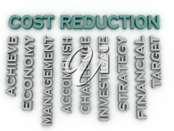 3d image cost reduction   issues concept word cloud background
