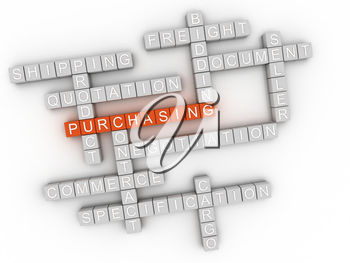 3d image Purchasing issues concept word cloud background