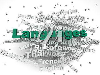 3d image Languages of the world issues concept word cloud background