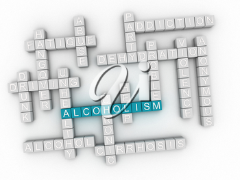 3d image Alcoholism issues concept word cloud background