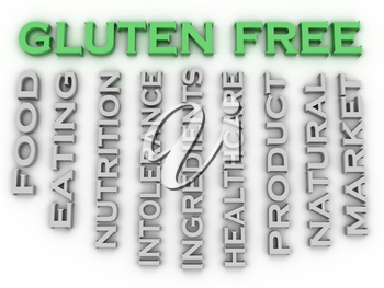 3d image Gluten free issues concept word cloud background