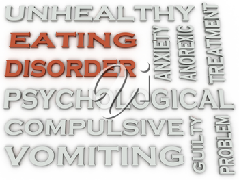 3d image Eating disorder word cloud concept