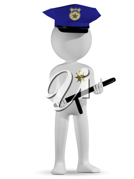 3d illustration of abstract white a policeman