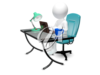 3d abstract illustration of a man at the table